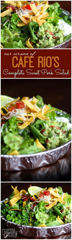 If you love the Cafe Rio Sweet Pork Salad, this is the place for The Complete Cafe Rio Sweet Pork Salad Recipe. See our easy recipes for each ingredient!