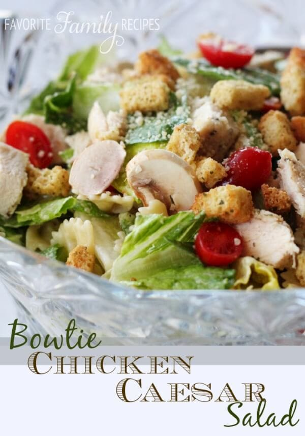 This Bowtie Chicken Caesar Salad is a simple, yet delicious salad!  The little pieces of pasta give your regular caesar salad an extra delicious substance!  #caesarsalad #bowtiepasta