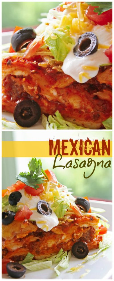 Mexican Lasagna is a cross between lasagna and enchiladas. Corn tortillas, meat sauce, and cheese layered and topped with your favorite Mexican toppings!