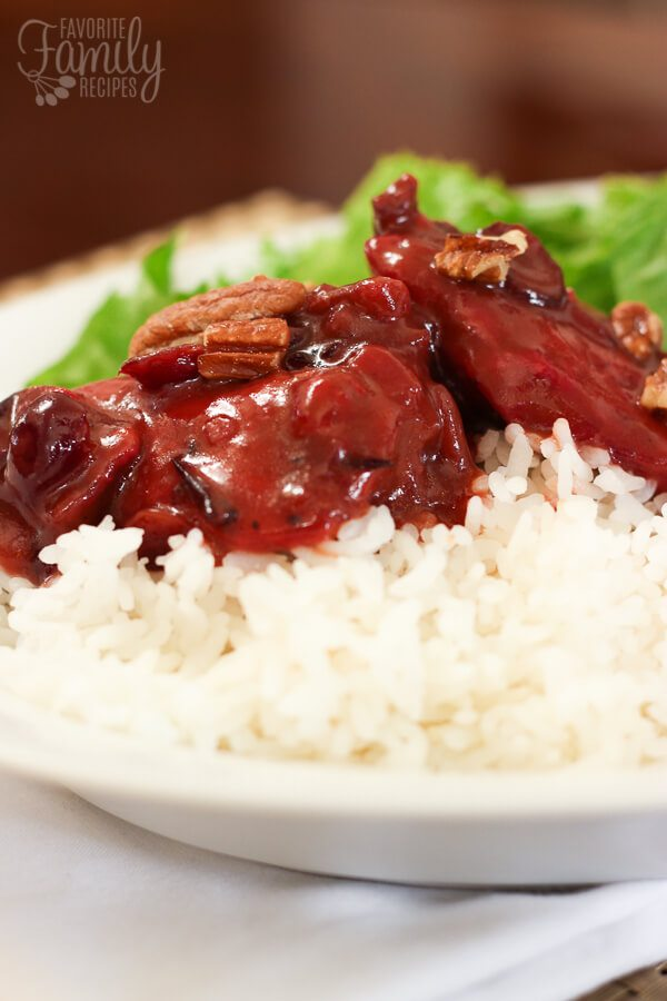 Side view of Cranberry Chicken on white rice.
