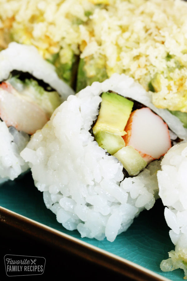 Close up of California Roll made with Sushi Rice