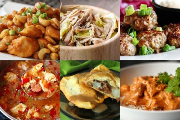 Collage of different recipes from around the world including tikka masala, Irish pasties, and Kalua pork