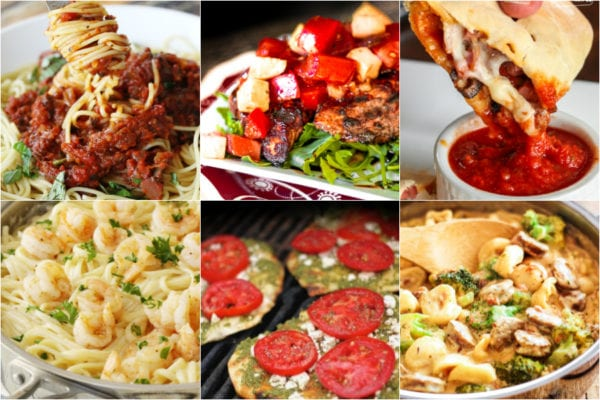 Collage of Italian recipes including spaghetti, calzones, and shrimp alfredo