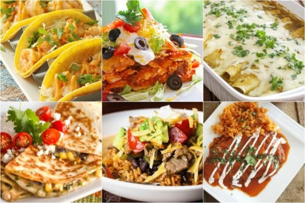 Mexican Meal Plan collage including shrimp tacos, steak fajita bowls, and enchiladas