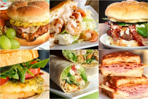 Collage of sandwiches, burgers, and wraps