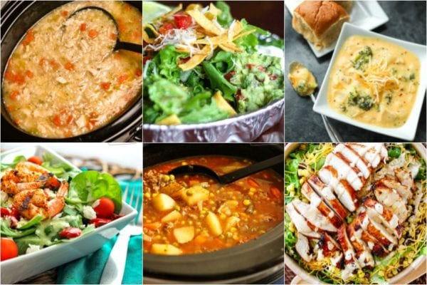 Collage of soups and salads including beef soup, shrimp salad, and BBQ chicken salad
