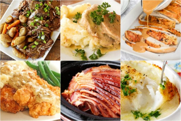 Collage of Sunday dinner ideas including pot roast, turkey, and pork chops