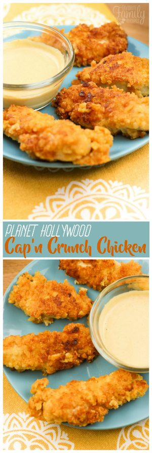 I love the Cap'n Crunch Chicken at Planet Hollywood!  I honestly can't go there and without ordering this favorite appetizer.  This chicken has a delicious savory sweet crunch, and a flavor unlike anything else you have tried.