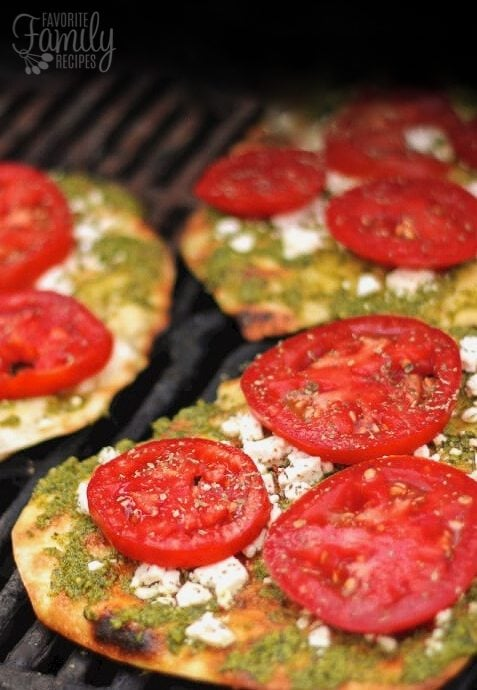 Grilled Pesto Pizzas with Fresh Tomatoes and Feta Cheese