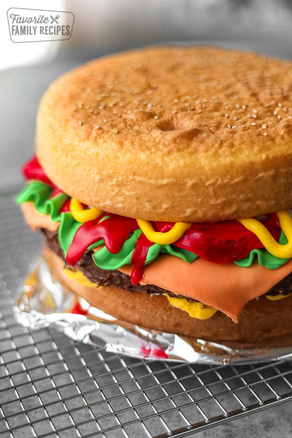 Hamburger cake made with cake mix and fondant