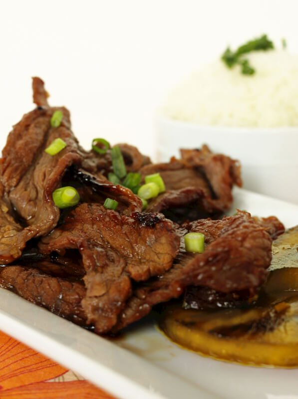 Hawaiian Beef Teriyaki on a white tray.