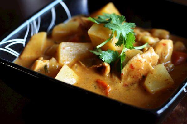 Chicken massaman curry in a bowl