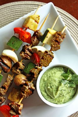 Steak Skewers with Avocado Sauce