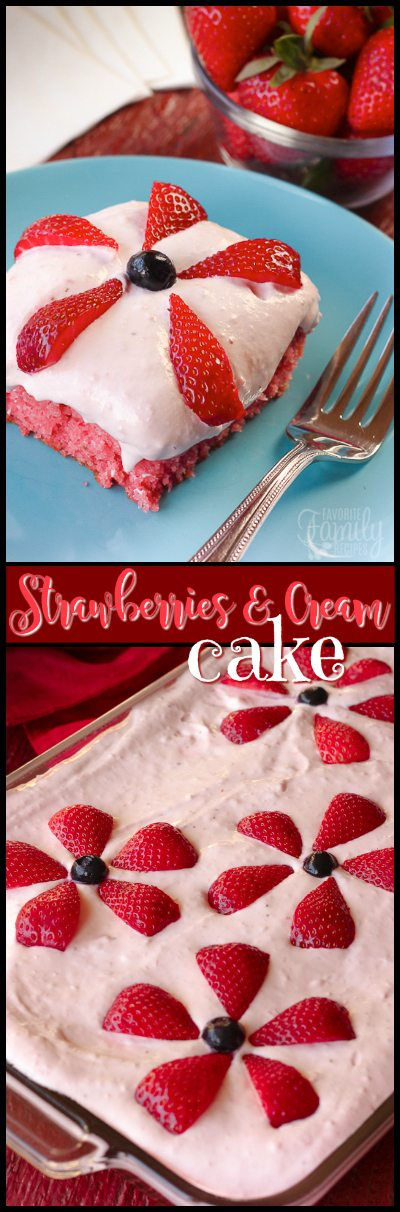 Strawberries and Cream Cake is a great summer dessert, loaded with fresh strawberries in both the cake and frosting! Perfect for a family get together. #strawberrycake #strawberriesandcreamcake