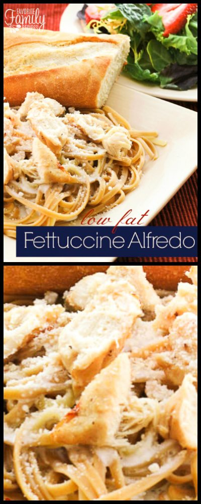 Low Fat Fettuccine Alfredo tastes every bit as good as the traditional pasta dish, but is much better for you!  We eat this on a regular basis at our house.