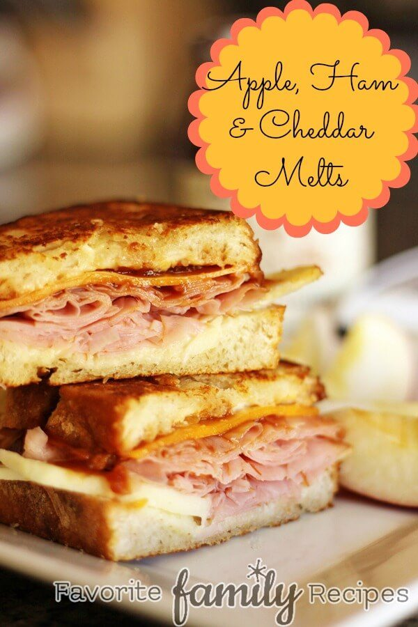 Apple Ham & Cheddar Melts from FavFamilyRecipes.com