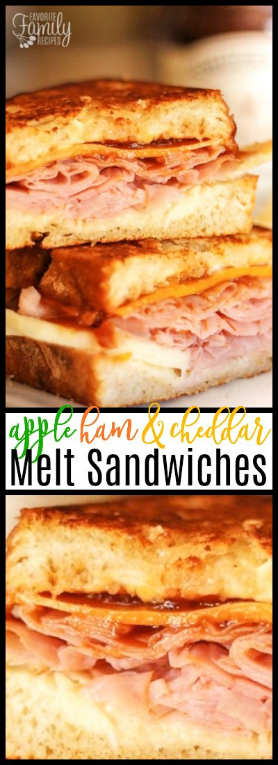 Apple, Ham, and Cheddar Melt Sandwiches aren't your average ham & cheddar melts! Brie cheese, apples, and apple butter make these a mouthwatering sandwich!  #Briecheese #apples #applebutter #cheddarmelts
