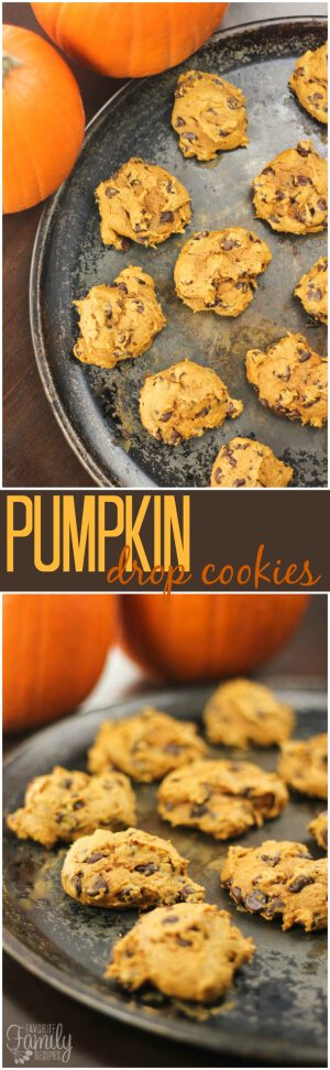 With only 3 ingredients, these Pumpkin Drop Cookies are quick and easy to make.  They are moist and full of delicious (and healthy!) pumpkin. #pumpkincookies #pumpkinrecipe