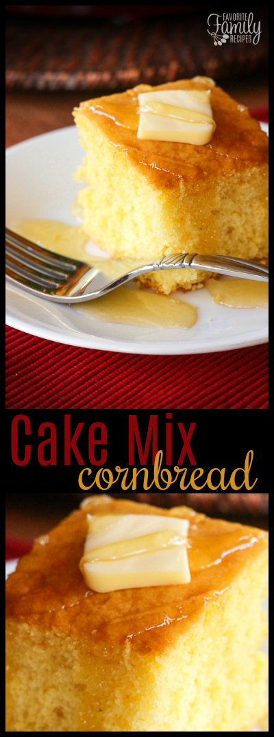 This easy Cake Mix Cornbread is a perfect cross between a cake and cornbread. The texture is fluffy and smooth but has that yummy cornbread taste!