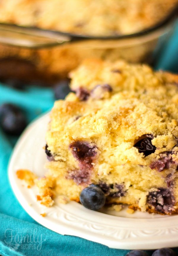 Blueberry Cream Cheese Coffee Cake on a plate
