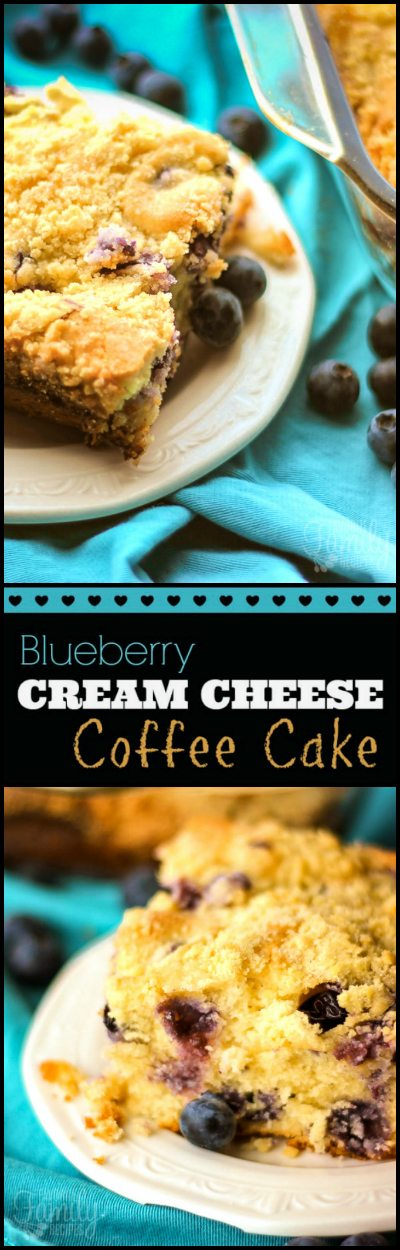 Blueberry Cream Cheese Coffee Cake is perfect for Sunday brunch.  It's swirled with sweet cream cheese and fresh blueberries with a sugary crumb topping.