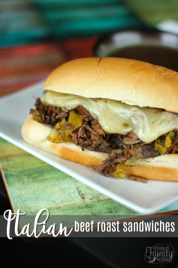 Italian Beef Roast Sandwiches are my new favorite way to do an Italian roast beef.  The beef is slow cooked in savory juices with a little kick of spice.  #roastbeef #beefroast #roastbeefsandwich #beefroastsandwich #italianbeefroastsandwich #Italianroastbeefsandwich #ItalianSandwich #sandwich #FrenchDip #FrenchDipSandwich #Sandwiches #SandwichRecipe #SandwichRecipes #Lunch #LunchRecipes #BeefSandwich
