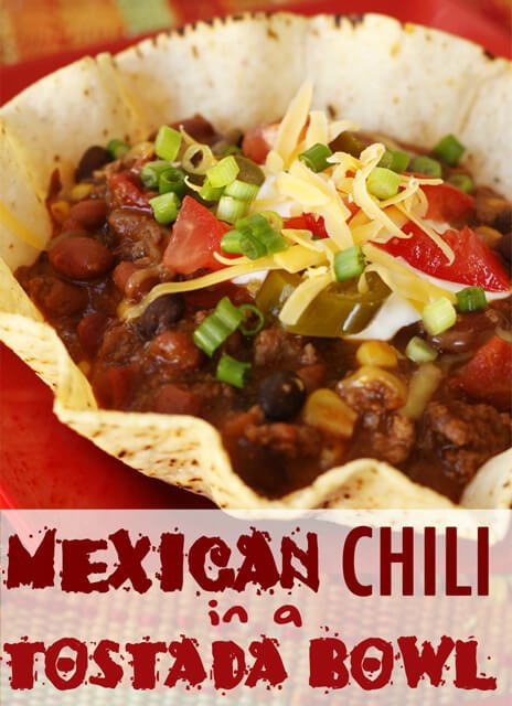 Mexican Chili in a Tostada Bowl
