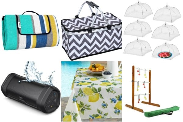 Collage of picnic gear including a picnic blanket, a basket, food covers, bluetooth speaker, tablecloth and ladder golf