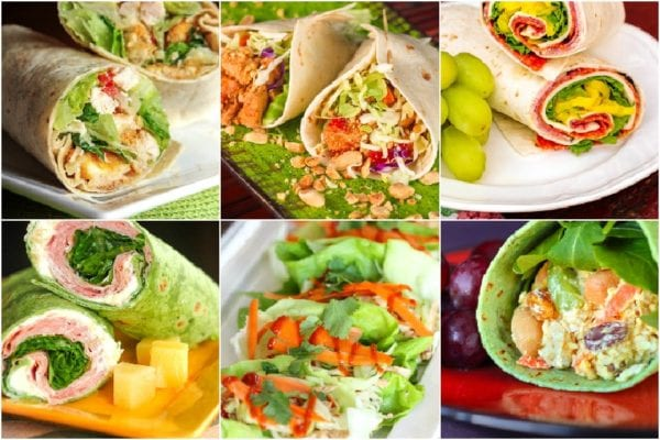 Collage of picnic wraps