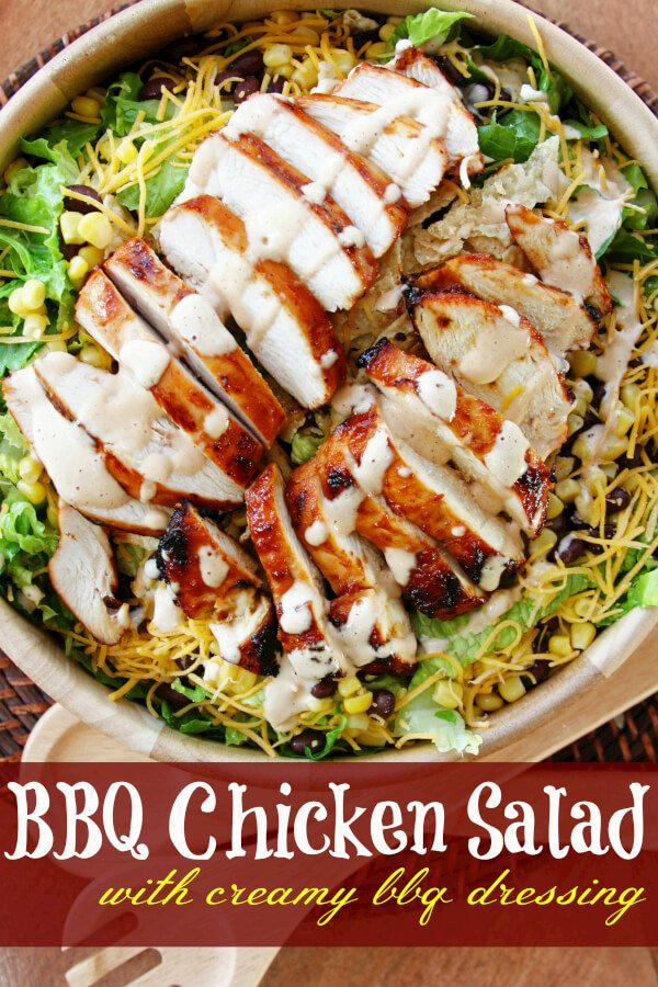 BBQ Chicken Salad With Creamy Avocado Dressing Recipe — Dishmaps