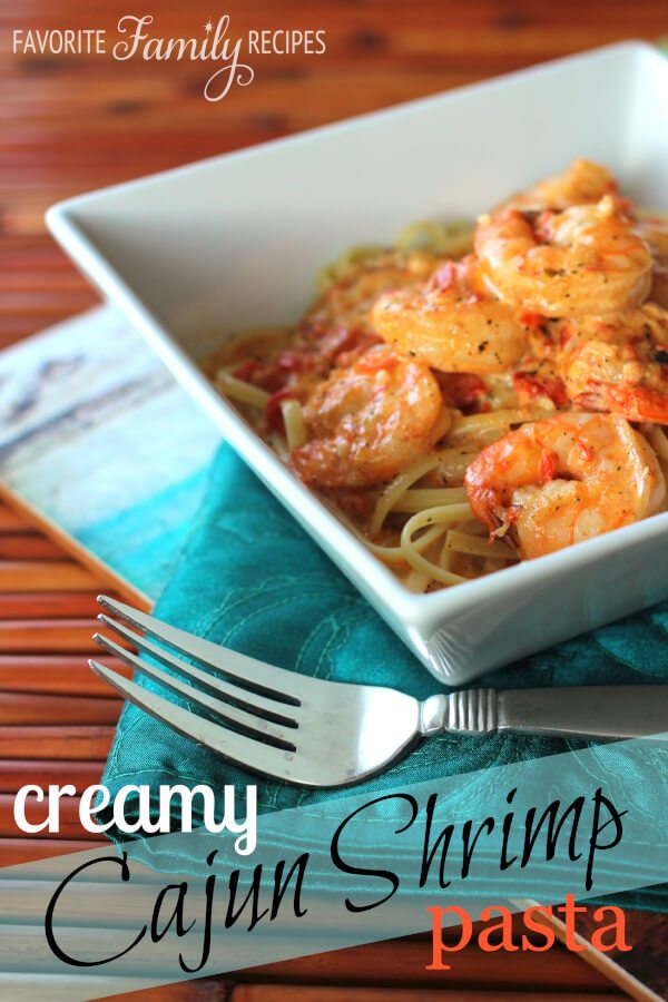 This Creamy Cajun Shrimp Pasta was inspired by a favorite New Orleans dish. The creamy sauce with the slightly spicy, buttery shrimp is to die for! #cajunshrimp #cajunpasta