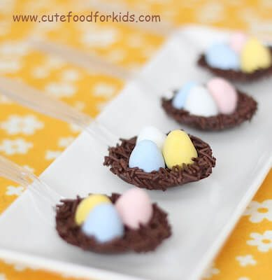 Chocolate Bird Nest Spoons