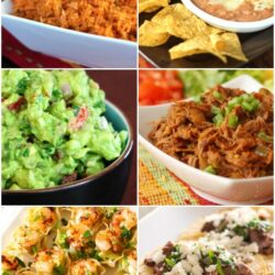 Collage of Mexican food with Mexican rice, refried beans, guacamole, and tacos