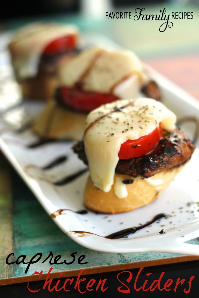 Caprese Chicken Sliders on a Sourdough Baguette from favfamilyrecipes.com