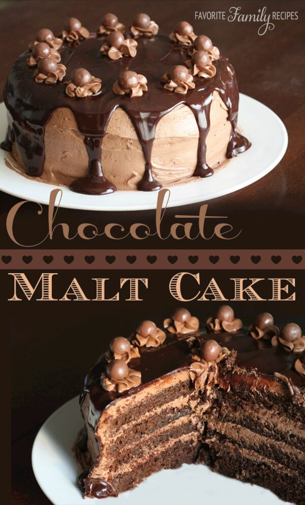 Chocolate Malt Cake with Chocolate Malt Icing from FavFamilyRecipes ...