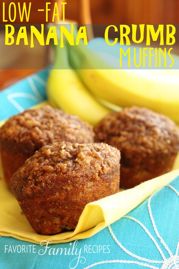 Low-fat Banana Crumb Muffins from FavFamilyRecipes.com