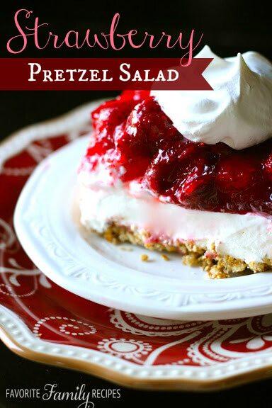 Strawberry Pretzel Salad from favfamilyrecipes.com