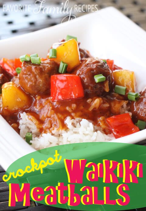 Crock Pot Waikiki Meatballs from favfamilyrecipes.com #crockpot #meatballs