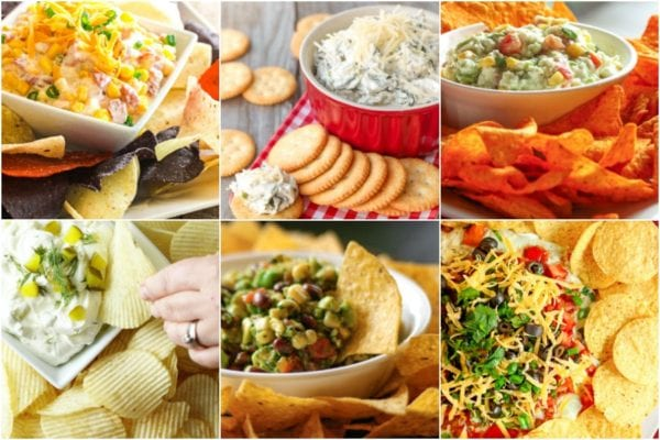 Collage of dips to bring to a barbecue