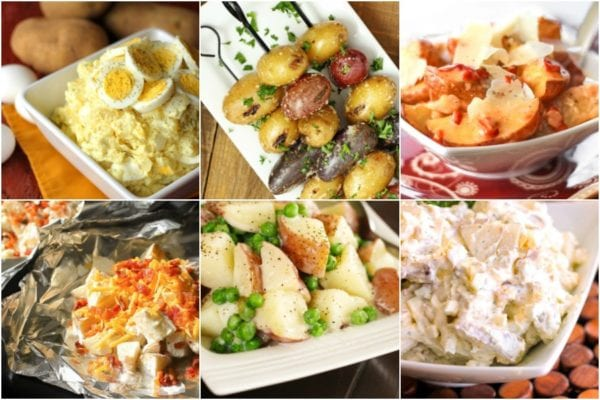 Potato Side dishes for a BBQ including potato salad, grilled potatoes, and foil wrapped potatoes