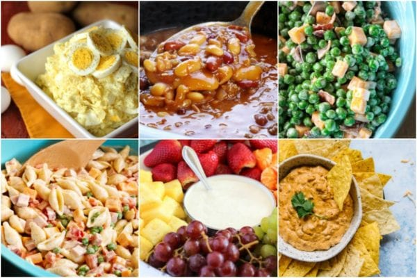 Collage of tasty BBQ side dishes