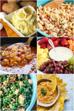 Vertical collage of BBQ side dishes