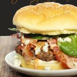 Bacon and Blue Cheese Burgers with Creamy Buffalo Sauce
