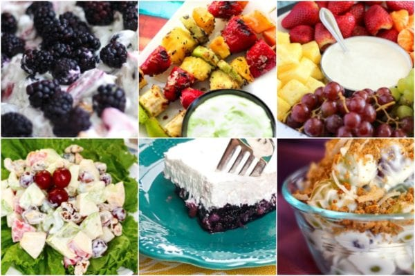 Collage with different fruit salads including yellow salad, waldorf salad, and grape salad