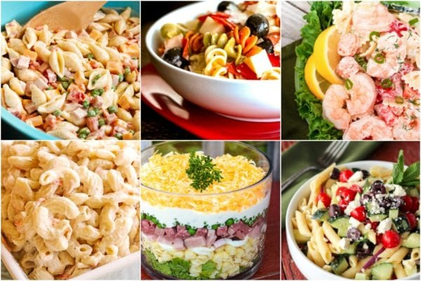 Collage of pasta salads including macaroni salad, shrimp salad, and pizza salad