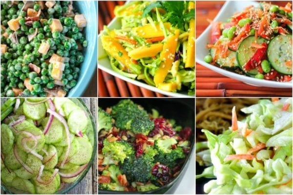 Collage of veggie side dishes including pea salad, cucumber salad, and broccoli salad