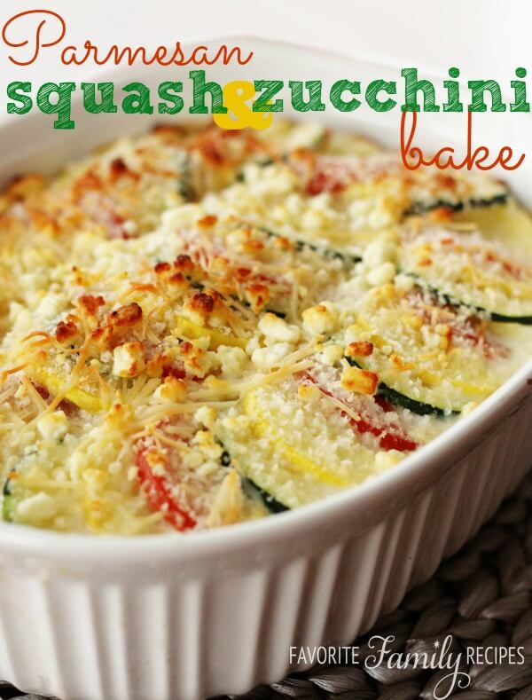 Parmesan Squash & Zucchini Bake from Favorite Family Recipes [Recipe Round-Up at A Little Seed Grows]
