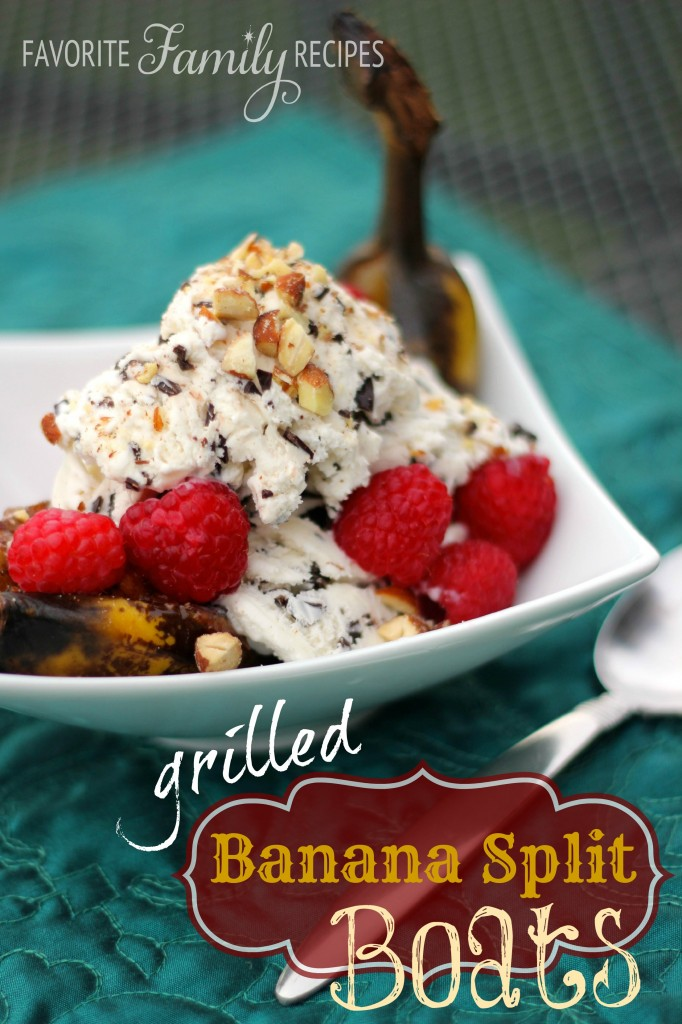 Grilled Banana Split Boats from favfamilyrecipes.com