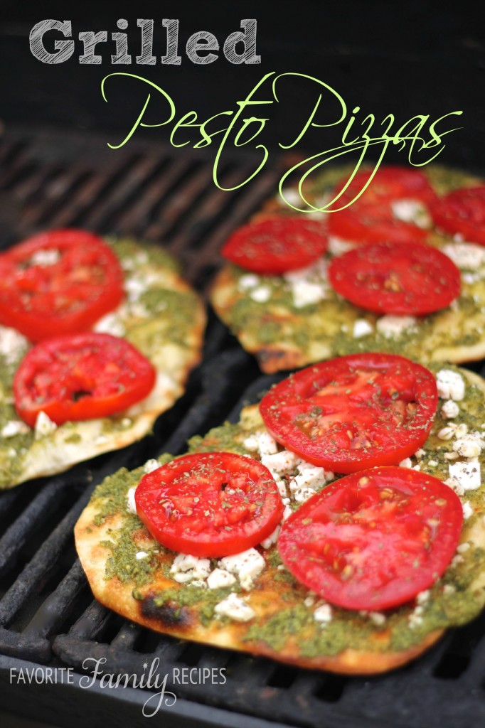 Grilled Pesto Pizzas from favfamilyrecipes.com
