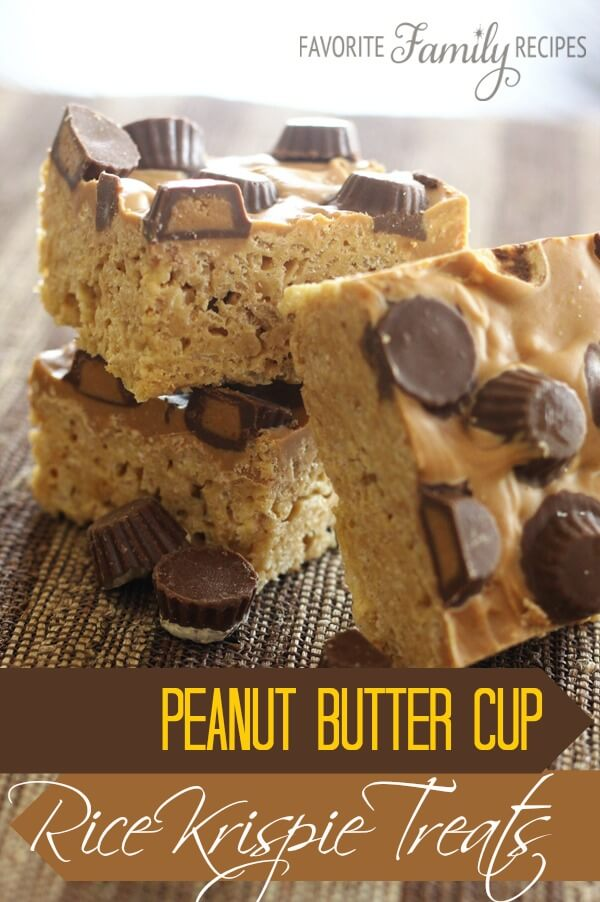 Peanut Butter Cup Rice Krispie Treats from FavFamilyRecipes.com